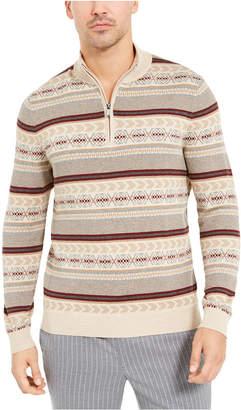 Tasso Elba Men Striped Quarter-Zip Sweater