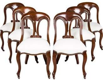 Set of 6 Carved Wood Side Chairs