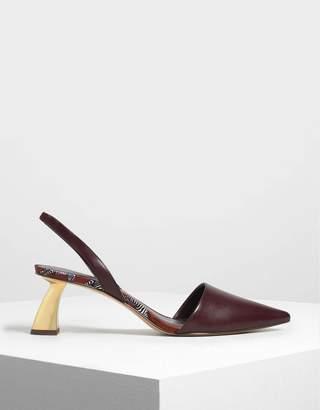 Charles & Keith Sculptural Heel Slingback Pumps