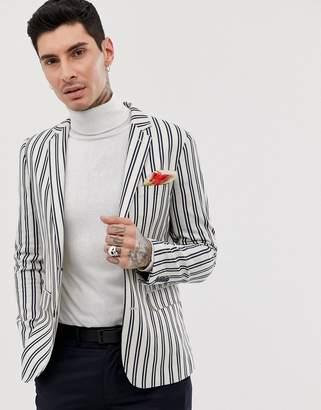 Devils Advocate navy stripe blazer