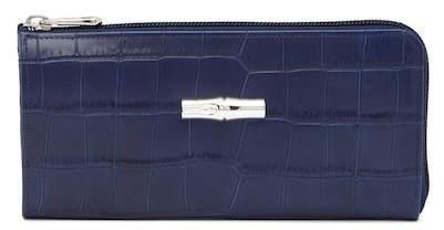 LONGCHAMP Roseau Croc Embossed Leather Zip Wallet