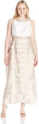 Jessica Howard JessicaHoward Women's Plus Size Beaded Yoke Gown