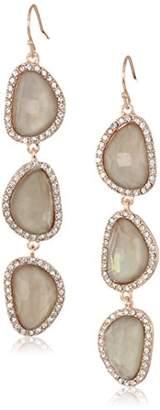 T Tahari Mystic Sands Women's Grey Crystal Stone Drop Linear Earrings