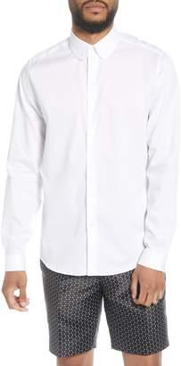 Topman Penny Collar Slim Fit Tie Bar Sport Shirt