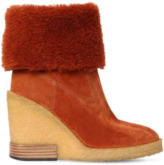 Tod's 85mm Shearling & Suede Boots
