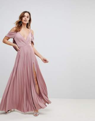 Asos Design Cold Shoulder Cowl Back Pleated Maxi Dress