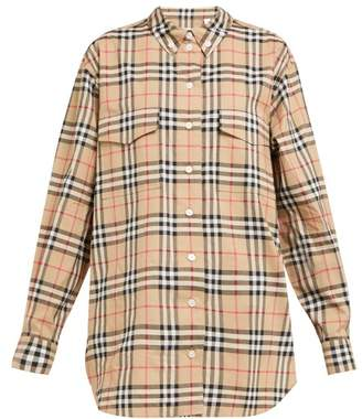 Burberry Turnstone Vintage Check Cotton Poplin Shirt - Womens - Beige Multi