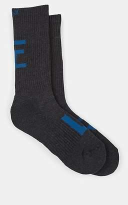 Yohji Yamamoto Men's Logo-Knit Cotton-Blend Mid-Calf Socks - Dark Gray
