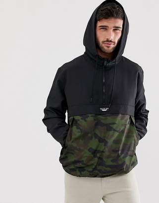 Bershka overhead windbreaker jacket with camo print in black