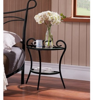 Laurèl Pilaster Designs Black Metal & Glass Top Modern Night Stand Bedside Table With Storage Shelf (Half Moon Shaped)