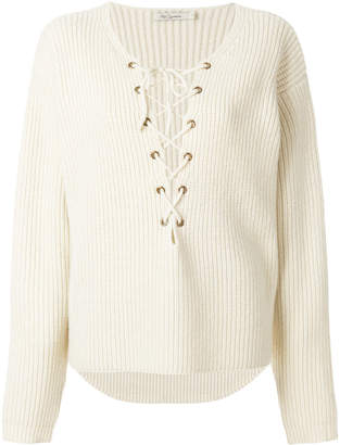 lace-up ribbed knitted blouse