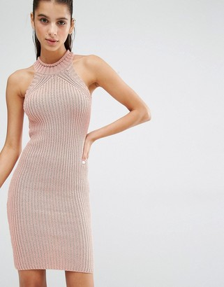Parallel Lines High Neck Knitted Mini Dress $57 thestylecure.com