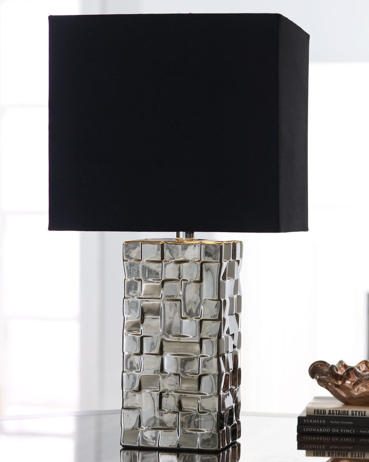 Horchow Silver Block Table Lamp