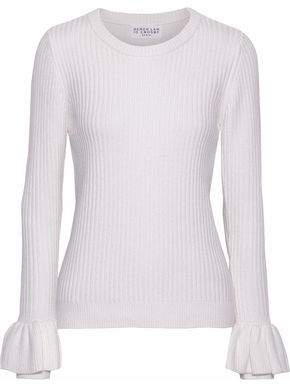 Derek Lam 10 Crosby Ruffled Ribbed-Knit Sweater