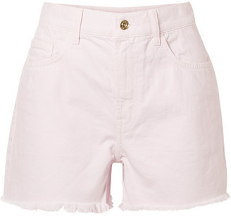 Current/Elliott The Aficionado Frayed Denim Shorts - Pastel pink