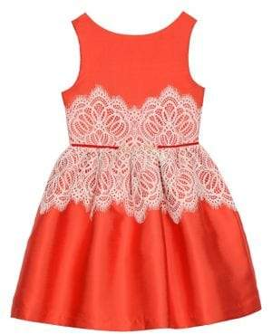 Badgley Mischka Belle by Girl's Lace Overlay Fit & Flare Dress