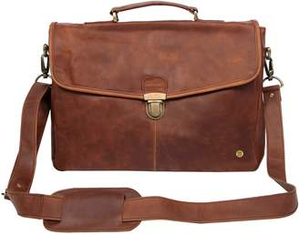"MAHI Leather - Leather Yale Clip-Up Satchel Briefcase Bag With 15"" Laptop Capacity in Vintage Brown"