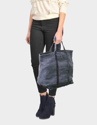 Vanessa Bruno Sequins and Linen Medium + Tote Bag in Denim Blue Linen