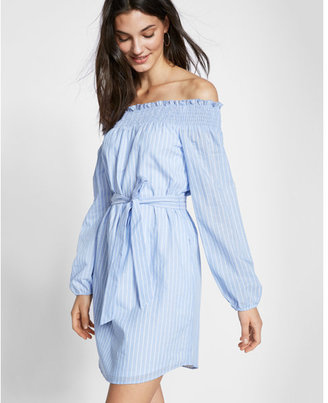 Express Striped Off The Shoulder Cotton Blend Shift Dress $69.90 thestylecure.com
