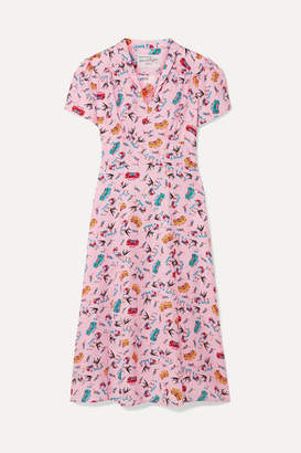 HVN Morgan Printed Silk Crepe De Chine Dress - Pink
