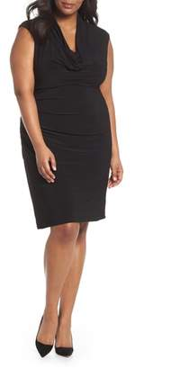 Adrianna Papell Cowl Neck Ruched Matte Jersey Dress