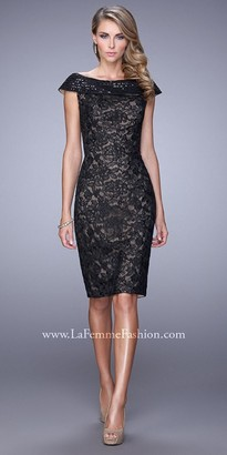 La Femme Off The Shoulder Sequined Cocktail Dress $398 thestylecure.com