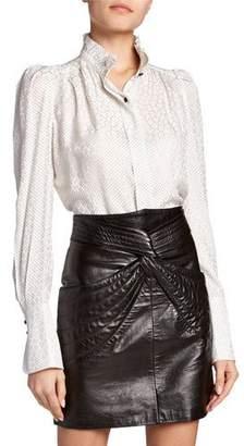 Isabel Marant Lamia Long-Sleeve High-Neck Blouse
