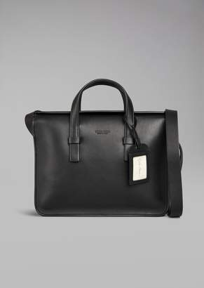 Giorgio Armani Smooth Leather Laptop Bag