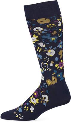 Paul Smith Men's Decoupage Floral Cotton-Blend Socks