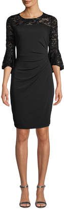 Neiman Marcus Bell-Sleeve Dress with Lace Detail