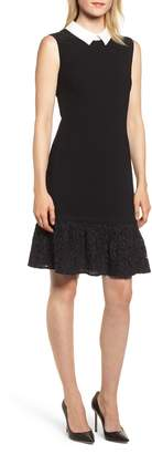 Karl Lagerfeld PARIS Sleeveless Ruffle Hem Sheath Dress