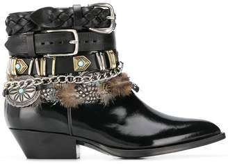 Philosophy di Lorenzo Serafini multi-buckle feather-trim boots