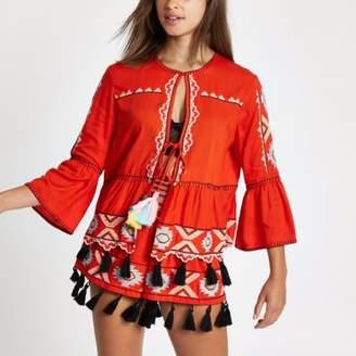 River Island Red embroidered tassel caftan jacket