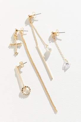 Urban Outfitters Delicate Cross Mismatch Earring Set