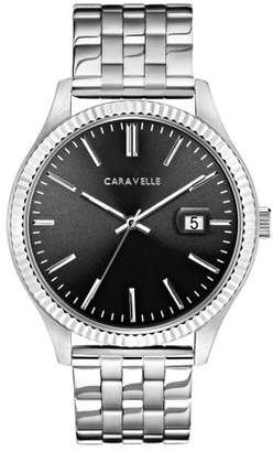 Bulova CARAVELLE Designed by Caravelle Men's Coin Edge Stainless Steel Bracelet Gray Dial Dress Watch 41mm