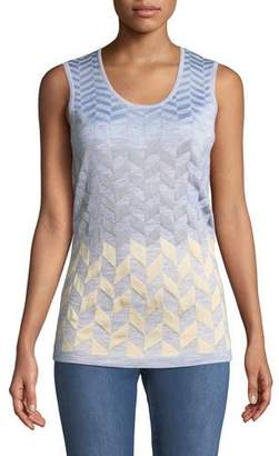 St. John Sleeveless Scoop-Neck Herringbone Shell