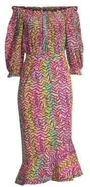 Saloni Grace Rainbow Off-The-Shoulder Midi Dress