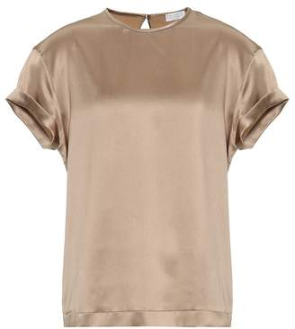 Brunello Cucinelli Stretch silk satin T-shirt