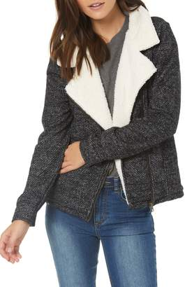 O'Neill Latte Faux Shearling Trim Moto Jacket