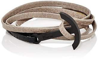 Miansai MEN'S MODERN ANCHOR ON LEATHER WRAP BRACELET - BROWN