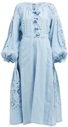 Vita Kin - Broderie Anglaise Linen Midi Dress - Womens - Light Blue