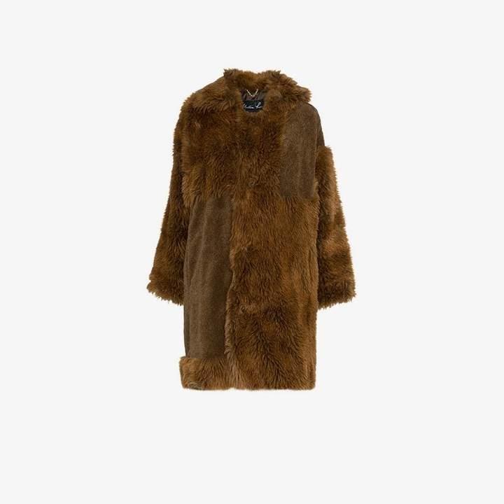 logo tab faux fur cotton blend coat