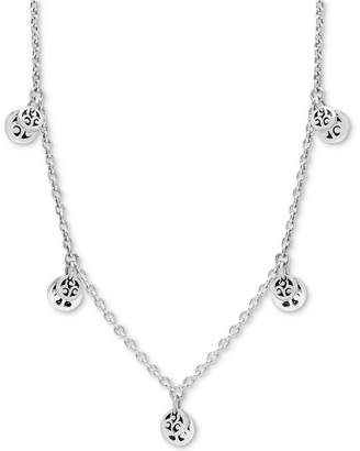 "Lois Hill Multi-Disc Charm 36"" Statement Necklace in Sterling Silver"