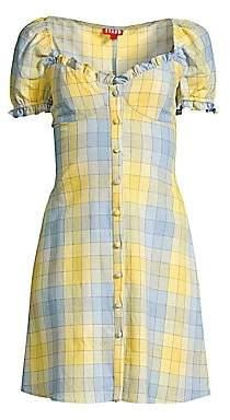 STAUD Women's Sur Plaid Cotton Dress
