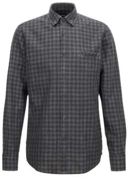 BOSS Hugo Regular-fit shirt in a Vichy check linen XL Black