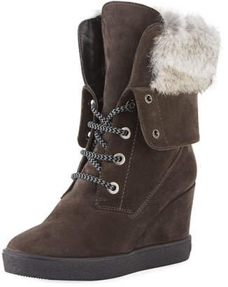 Aquatalia Cordelia High Wedge Boots w/ Fur Trim