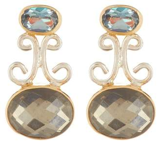 MICHOU Two-Tone Gold Plated Sterling Silver Pyrite, Topaz, & Quartz Drop Earrings