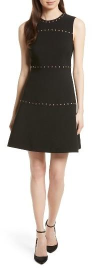 Women's Kate Spade New York Studded A-Line Crepe Dress