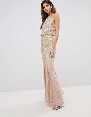 Lipsy twist neck sequin maxi dress in gold