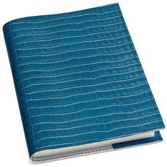 Aspinal of London A5 Refillable Leather Journal In Deep Shine Topaz Small Croc
